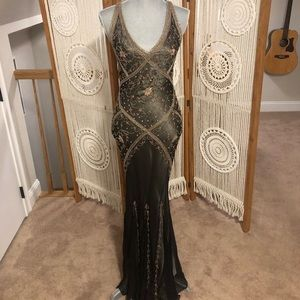 Embroidered and beaded Cache Evening Gown
